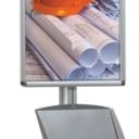 Pro-Display: вариант комплектации 4-х канальной стойки: клик-рамка, металлический лоток для буклетов формата А4*2