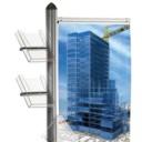Pro-Display: вариант комплектации 4-х канальной стойки: плакатный держатель, 2 вертикальных акриловых кармана, 2 акриловых кармана под углом 45°