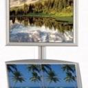 Pro-Display: вариант комплектации 2-х канальной стойки: клик-рамка, 2 металлических лотка А4*2